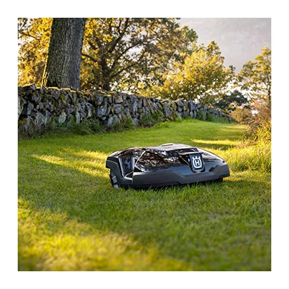 Husqvarna automower 310, robotic lawn mower 5 smart home meets smart lawn - manage your lawn with the touch of a button and maintain a yard your neighbor's will envy; the connect@home app allows you to set and adjust your automower's cutting schedule with ease (bluetooth connectivity works up to 100 ft) guided by hidden boundary wires, automower knows how to smartly maneuver around your yard and when to return to the charging station for a battery recharge quiet enough to run at night, you'll never have to worry about disturbing your neighbors again with noise or fumes