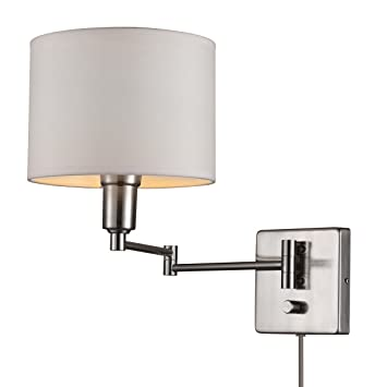 Globe Electric Bernard 1 Light Plug In Or Hardwire Wall Sconce Brushed Steel