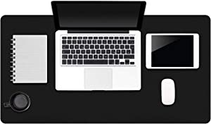"""Black Leather Office Desk Pad, Dual-Sided Laptop Desktop Desk Pad, 31.5"""" x 15.7"""" Waterproof Computer Keyboard and Mouse Pad for Office/Home"""