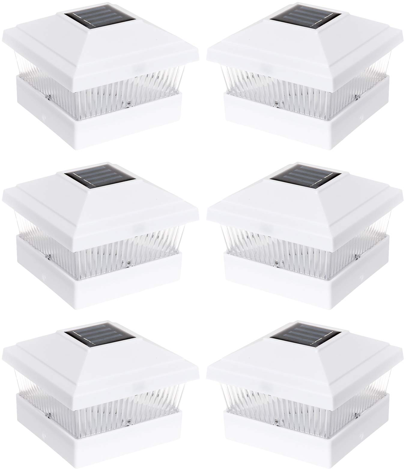 Solar Outdoor Fence Post Cap LED Light for 5 x 5 PVC Posts, White, 6 Pack