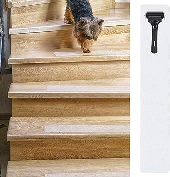 Cintas antideslizantes para peldaños de escalera, 23 x 4 pulgadas, paquete de 15 tiras transparentes antideslizantes para interiores con rodillo para escaleras, suelos, escalones: Amazon.es: Bricolaje y herramientas