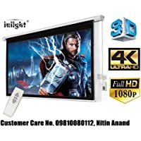 Inlight Imported Motorised Home Theatre Projector Screen, 9 Feet x 5 Feet, 120 inches Diag. in 16:9 Format, Supports 1080 P - UHD - 3D - 4K Ready Technology, with Cordless Remote