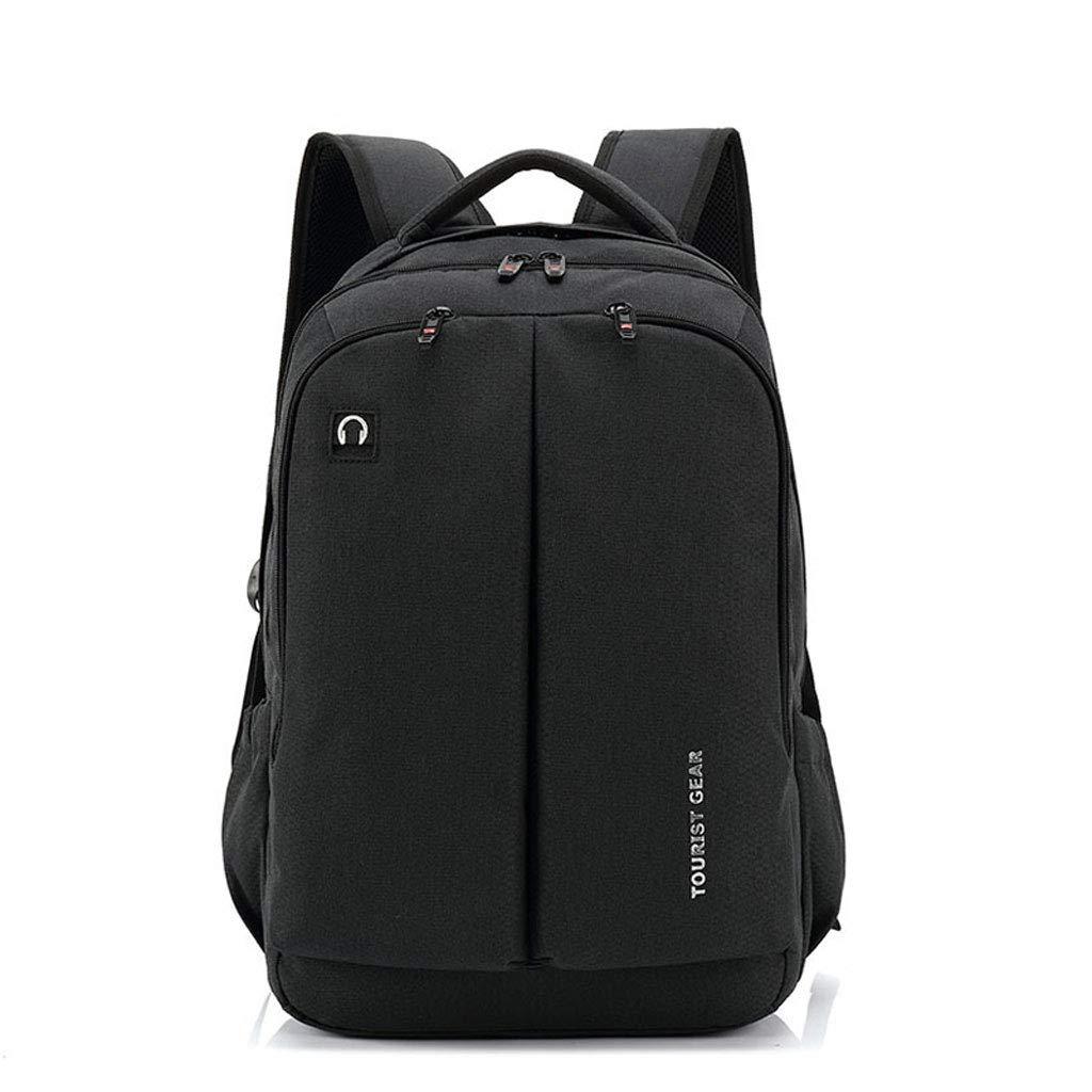 メンズビジネスバックパックラップトップバッグ、USB充電、多機能ナイロン防水トラベルバッグ (Color : ブラック, Size : M m) B07K7KHW7Y