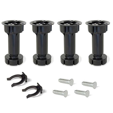 EMUCA - Patas Regulables para Muebles de Cocina o baño, Pack de 4 pies  Negros con Accesorios de Montaje, H 150mm