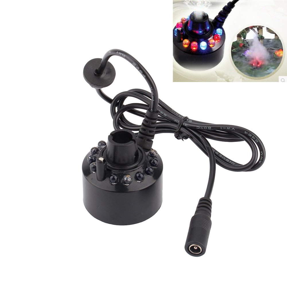 12 Color LED Ultrasonic Mist Maker Fogger Water Fountain Pond+Power Adapter