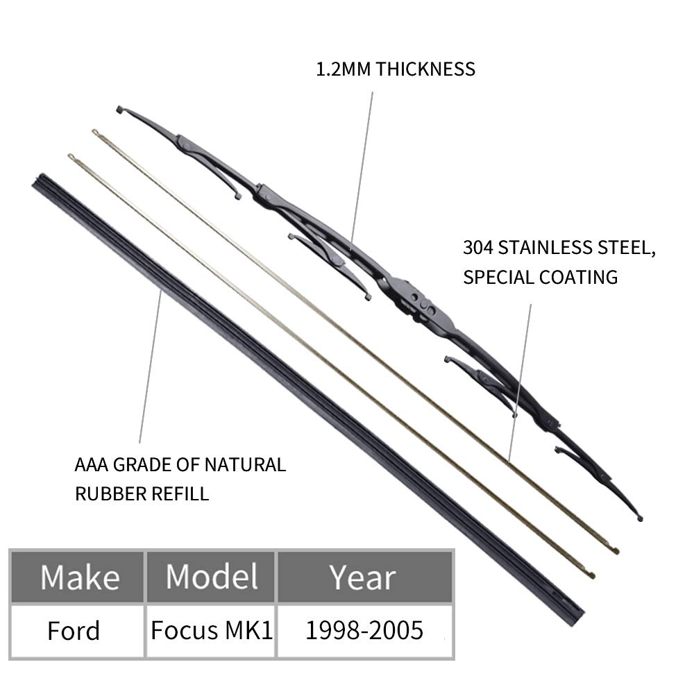 Front Wiper Blades for 1998-2005 Focus MK1 OTUAYAUTO Front Windscreen Flat Wiper Blades