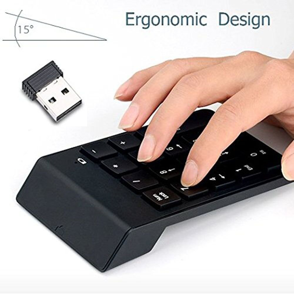 Numeric Keypadfebite 18 Keys Wireless Usb Number Pad Keyboard With 24g Mini Receiver For Laptop Desktop Pc Notebook Black