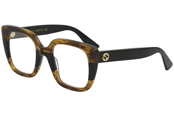 af2fee28432580 Lunettes de Vue Gucci GG0180O STRIPED BROWN femme  Amazon.fr ...
