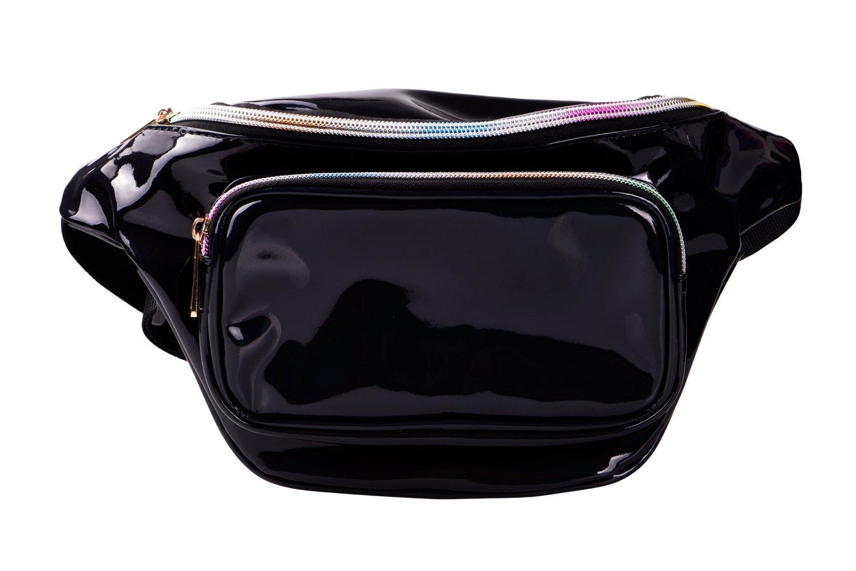 G-Fiend Women Waist Pack Holographic Shiny Fanny Pack Fashion Bum Bag (b.Black)
