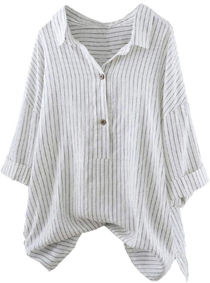 FuweiEncore Blusa de Mujer de Manga Larga de algodón con Rayas de otoño, Color Liso, Estilo Informal, Elegante, para niña, Blanco, Small: Amazon.es: Hogar