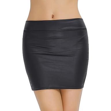 a24addb1a5566b TiaoBug Femme Mini Jupe Moulante Jupe Crayon Bodycon Noir Jupe Soirée Bal  Danse Taille Haute Jupe Courte Jupe Imitation Faux Cuir Jupe S-3XL