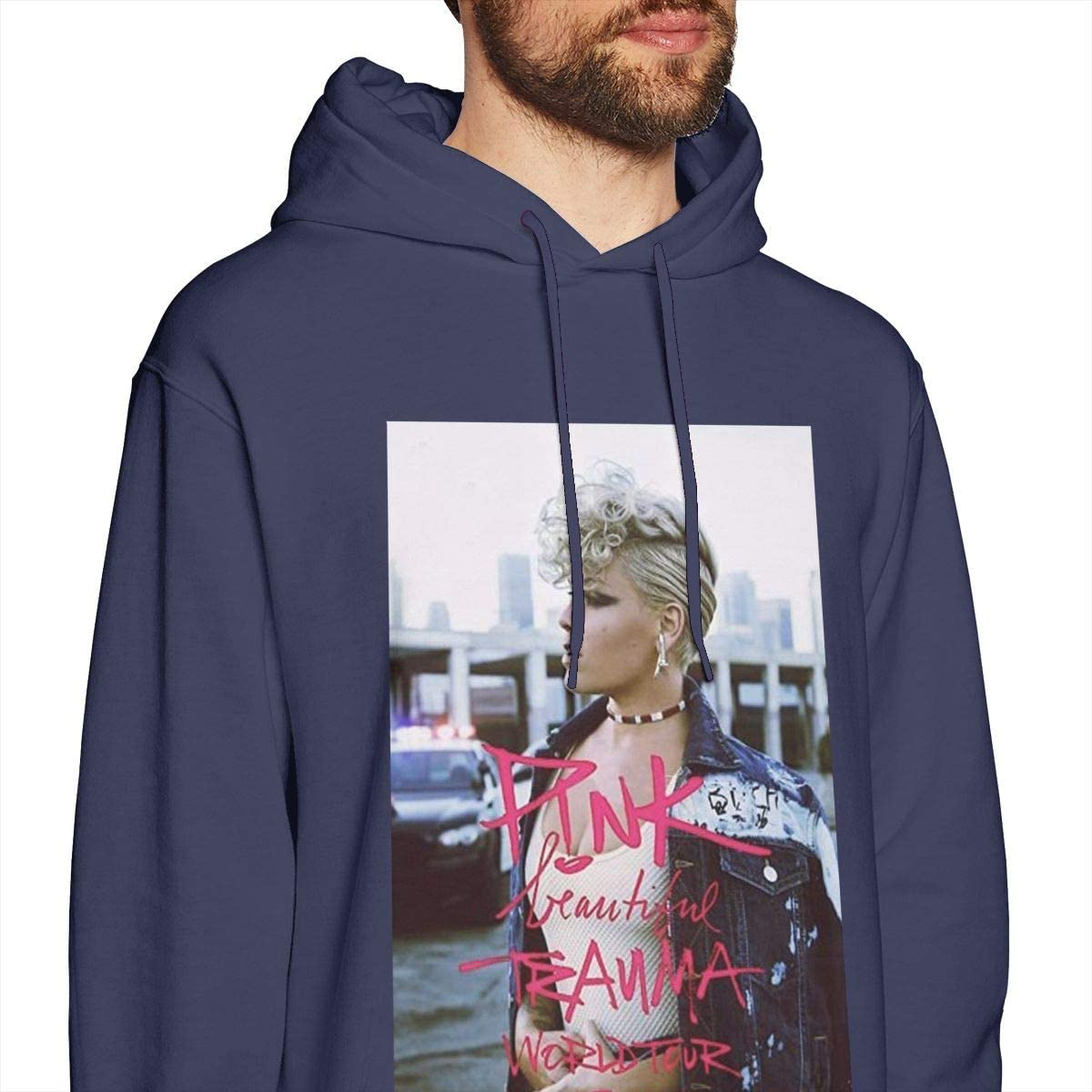 Mens Hooded Sweatshirt Pink Beautiful Trauma Tour 2018 Mrene Unique Classic Fashion Style Navy