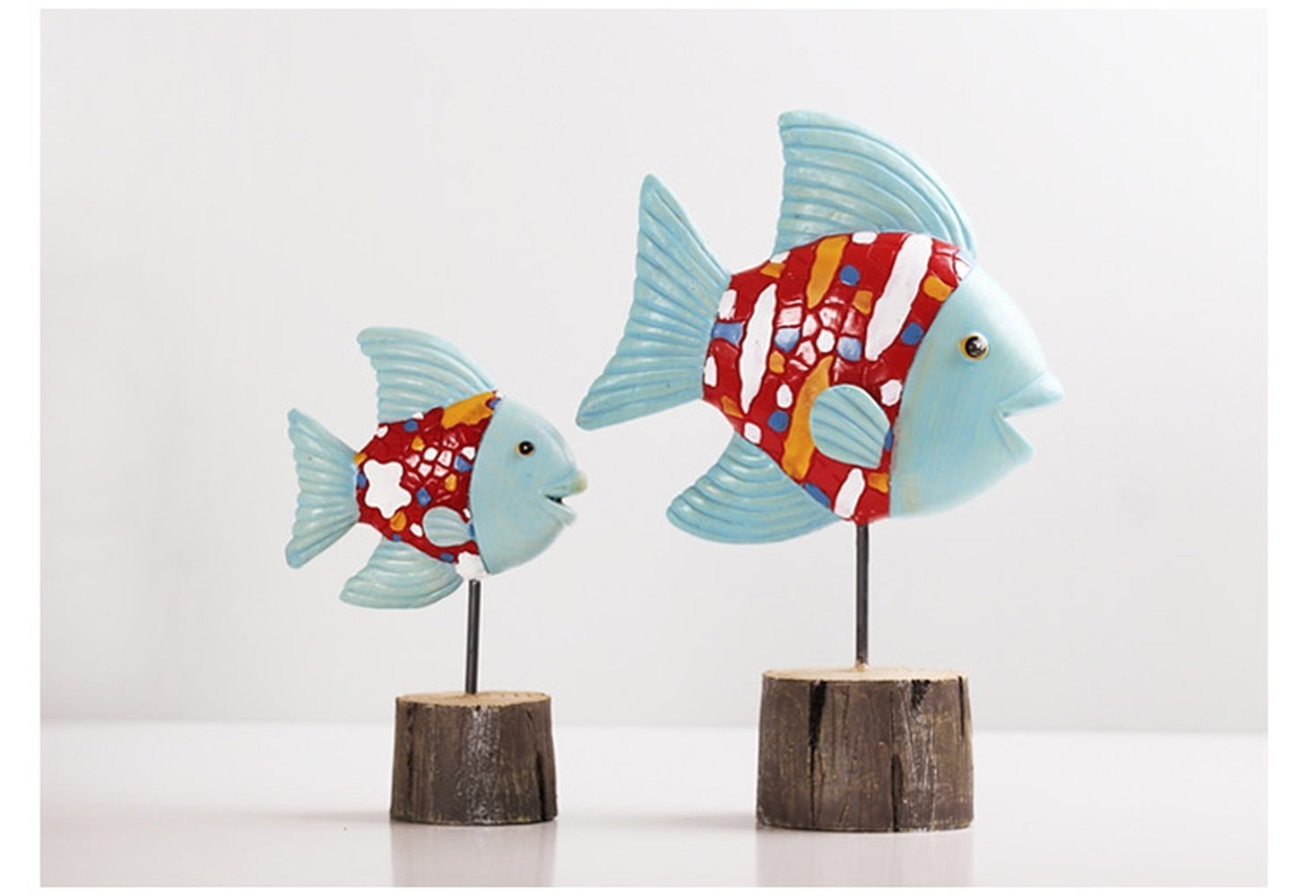 Bwlzsp 1 pair Nordic decorative fish lucky ornaments simple modern TV cabinet wine cabinet living room table home technology LU716441 (Color : Red)