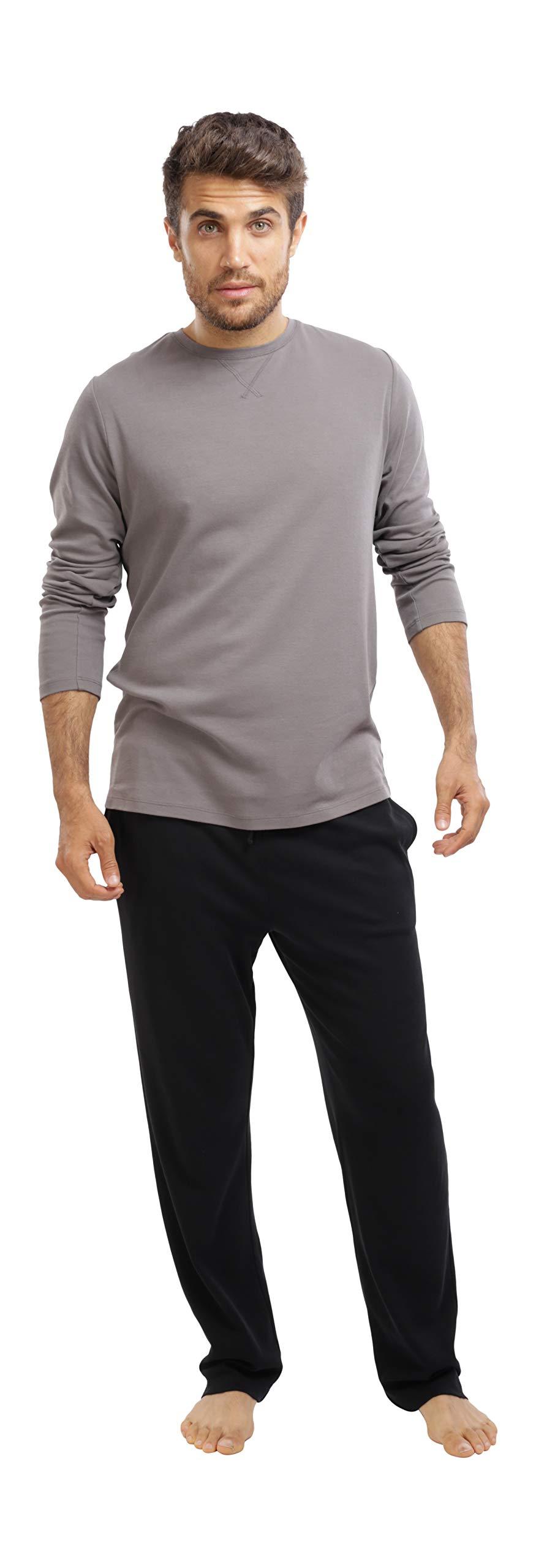 jijamas Incredibly Soft Pima Cotton Men's Pajamas Set - The Weekender in Black and Grey