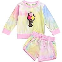 Conjuntos para Niña Bebé Recién Nacido de Tie-Dye Sudadera Mangas Largas con Helado 3D + Pantalones Largos para Casual…
