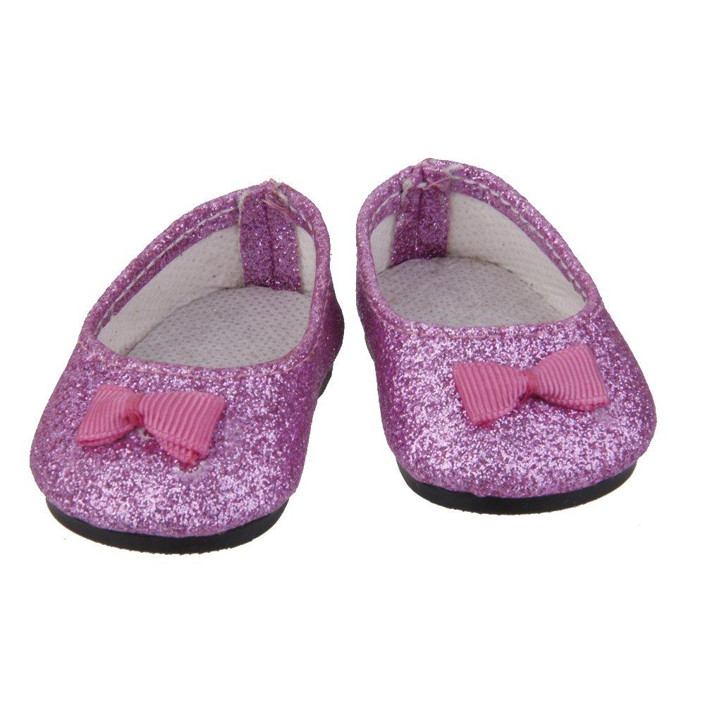 1 Par Zapatos Miniatura Bling para Muñecas American Girl Color Púrpura Genérico
