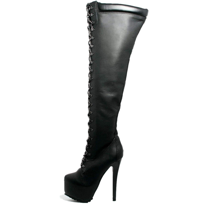 fa3da689449 shoewhatever Women's Stiletto Heel Almond Toe Thigh High Fashionable Boot