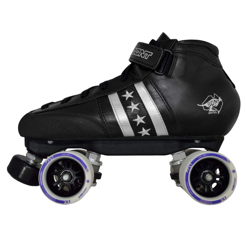 BONT Skates | Quadstar Roller Skate Package | Indoor Quad Speed | Genuine Australian Leather | Youth - Adult (7.5/40)