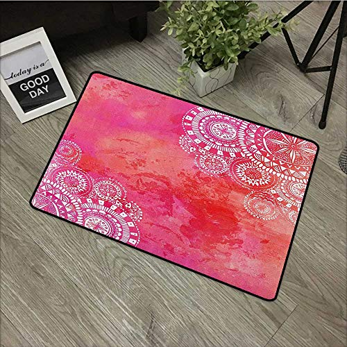 Sillgt Mandala Pet Doormat Pink Watercolor Paint Background with White Hand Drawn Doodles Asian Motifs Non Toxic Rug 24