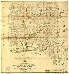 Amazoncom Vintage Map Of Part Of Alabama Florida Showing - 1836 maps us