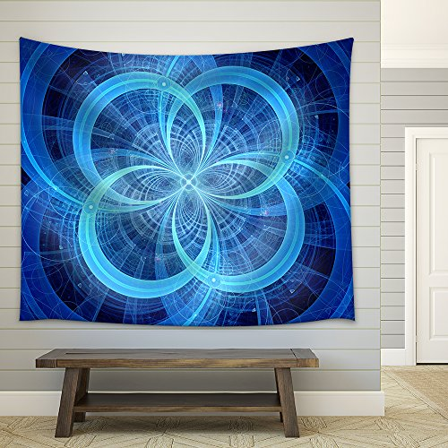 Blue Glowing Circles Higgs Boson Computer Generated Abstract Background Fabric Wall Tapestry