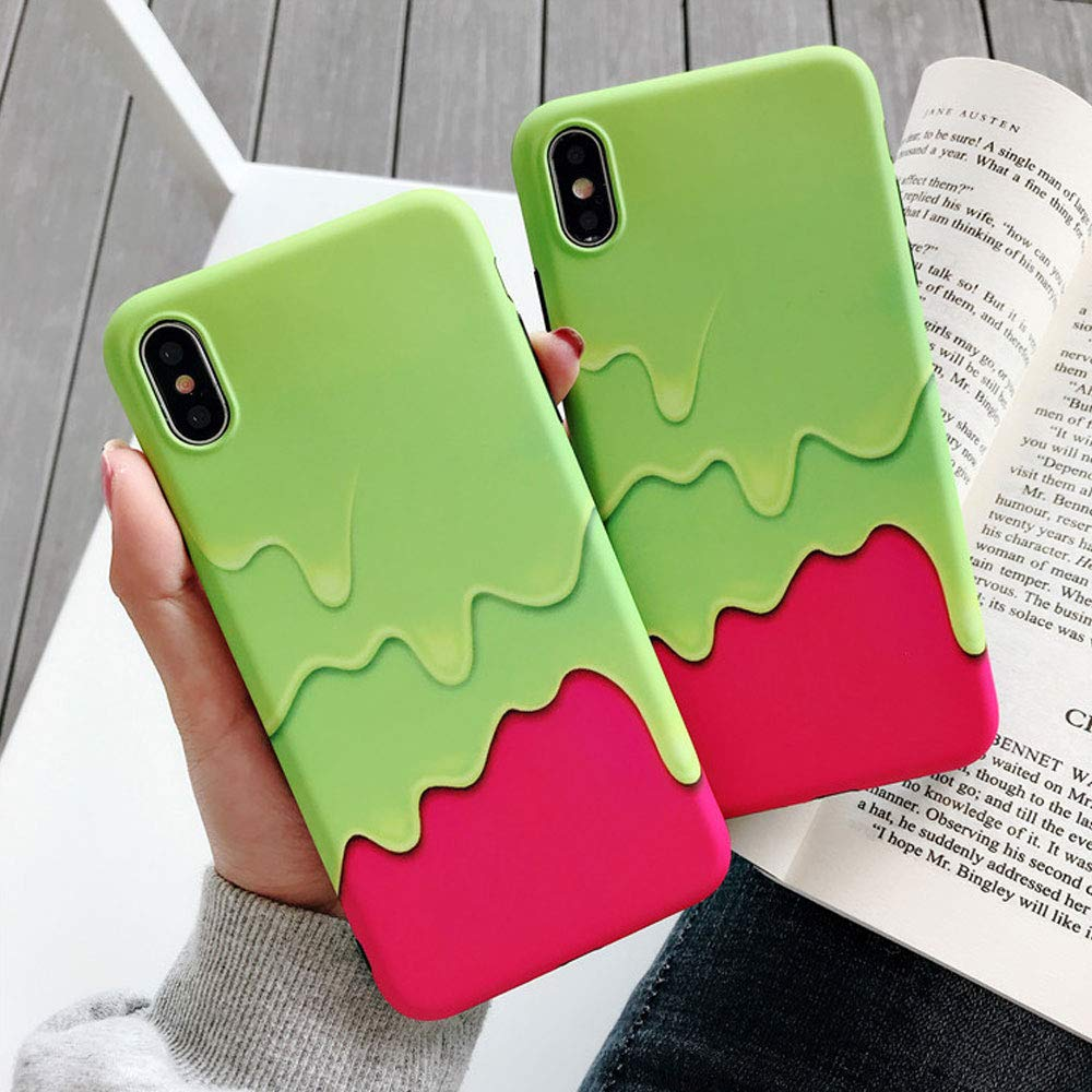 BONTOUJOUR iPhone 7 Plus/iPhone 8 Plus Case, Stylish Summer Ice Cream Phone Case, Girl Creative Funny Food Colorful Icecream Soft TPU Cover Case Good Protection