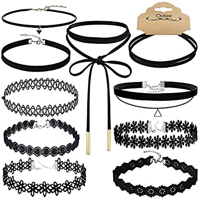 Chokers Necklaces, Outee 10 PCS Black Velvet Choker Necklaces Set Gothic Stretch Tattoo Choker Elastic Tassel Pendant Necklaces for Women Girls from Outee