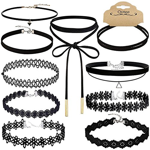Outee Black Women Chokers Necklaces