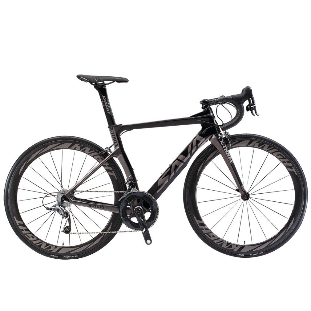savadeck Phantom 5.0 700 Cカーボンファイバーロードバイクサイクリング自転車with SRAM Force 22スピードグループセットハッチンソン25 CタイヤとFizikサドル B074M8Y81S 540MM|グレー グレー 540MM