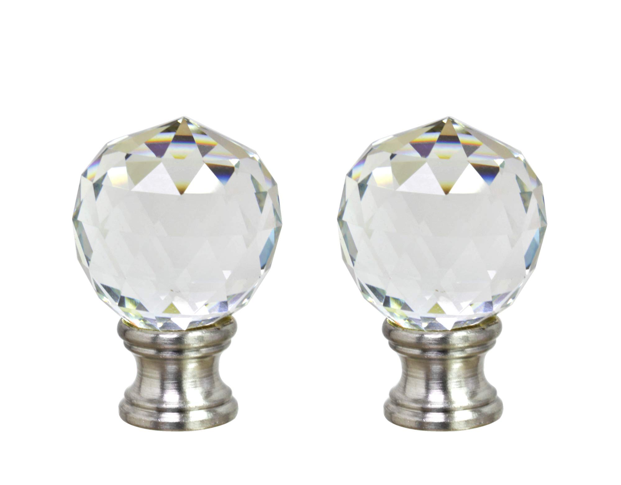 Aspen Creative 24008-12, 2 Pack, Clear Faceted Crystal Lamp Brushed Nickel Finish, 1 3/4'' Tall Finial