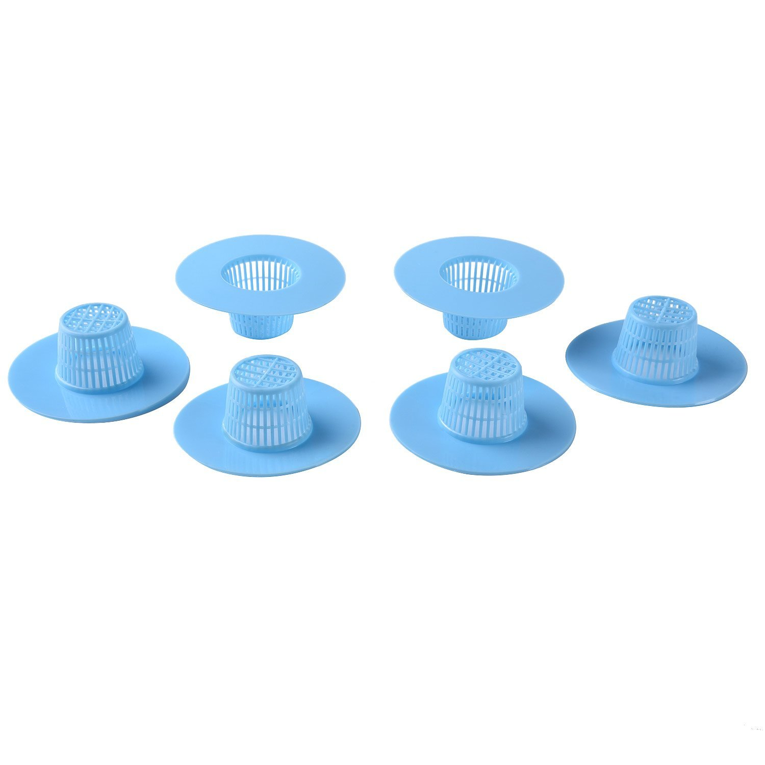 Blulu Plastic Kitchen Bath Sink Strainer Filter Net Drain Hair Catcher Stopper, Blue, 6 Pack by Blulu