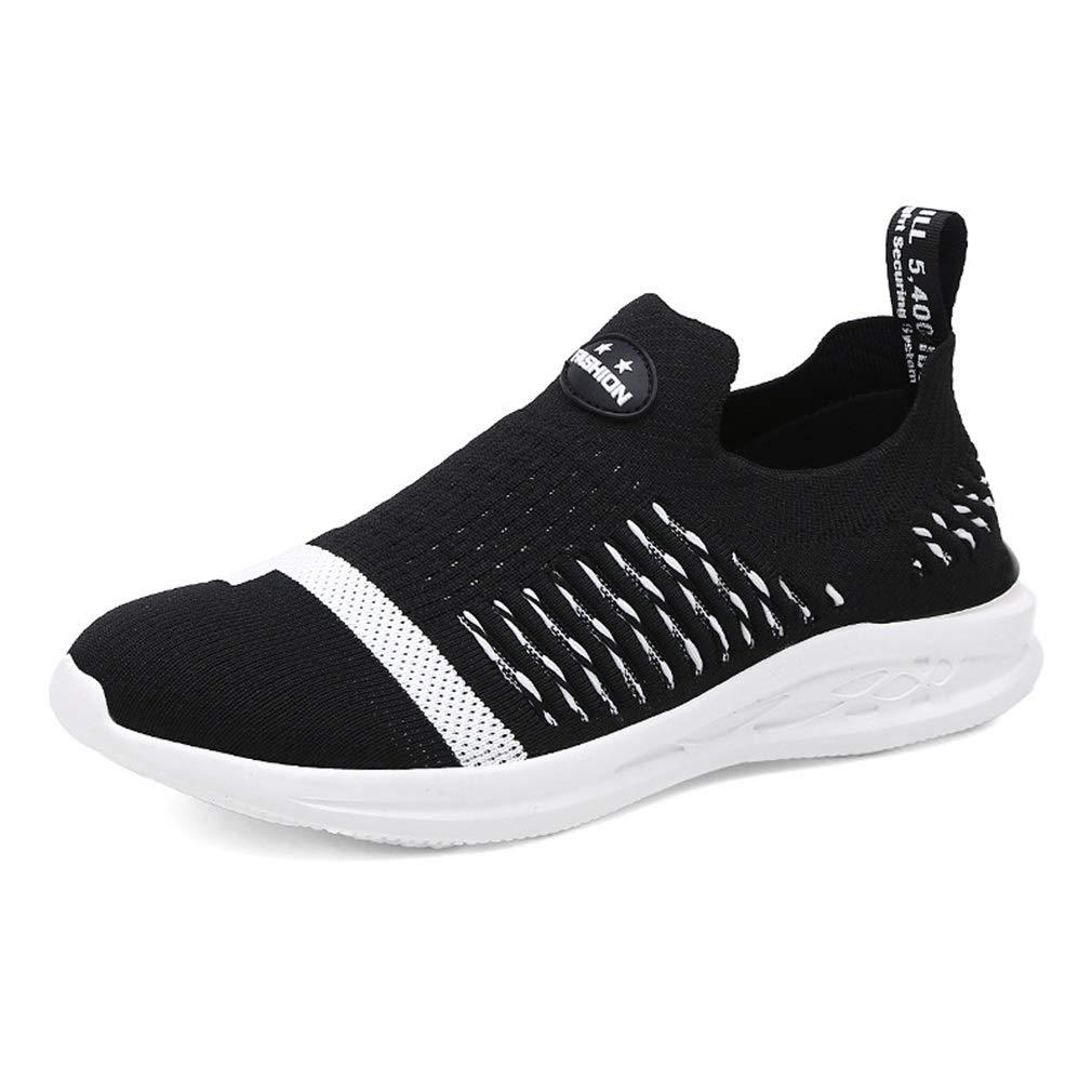 YAN Herrenschuhe Mesh Schuhe Atmungsaktiv Gestrickte Turnschuhe Licht Laufschuhe Wanderschuhe Wanderschuhe Schwarz Weiß (Farbe   Schwarz, Größe   40)