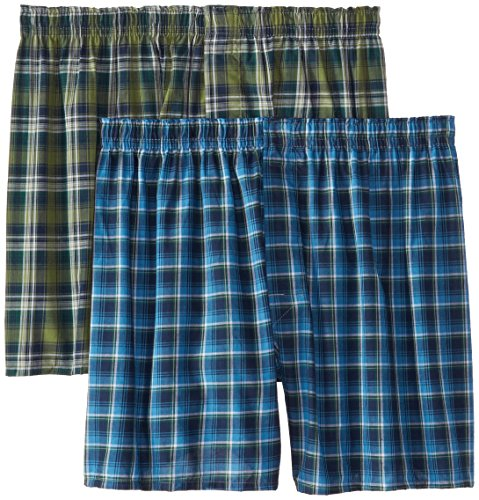 Hanes Men's 2-Pack Inside Exposed Waistband Woven Boxers, Tartan Plaid, Large