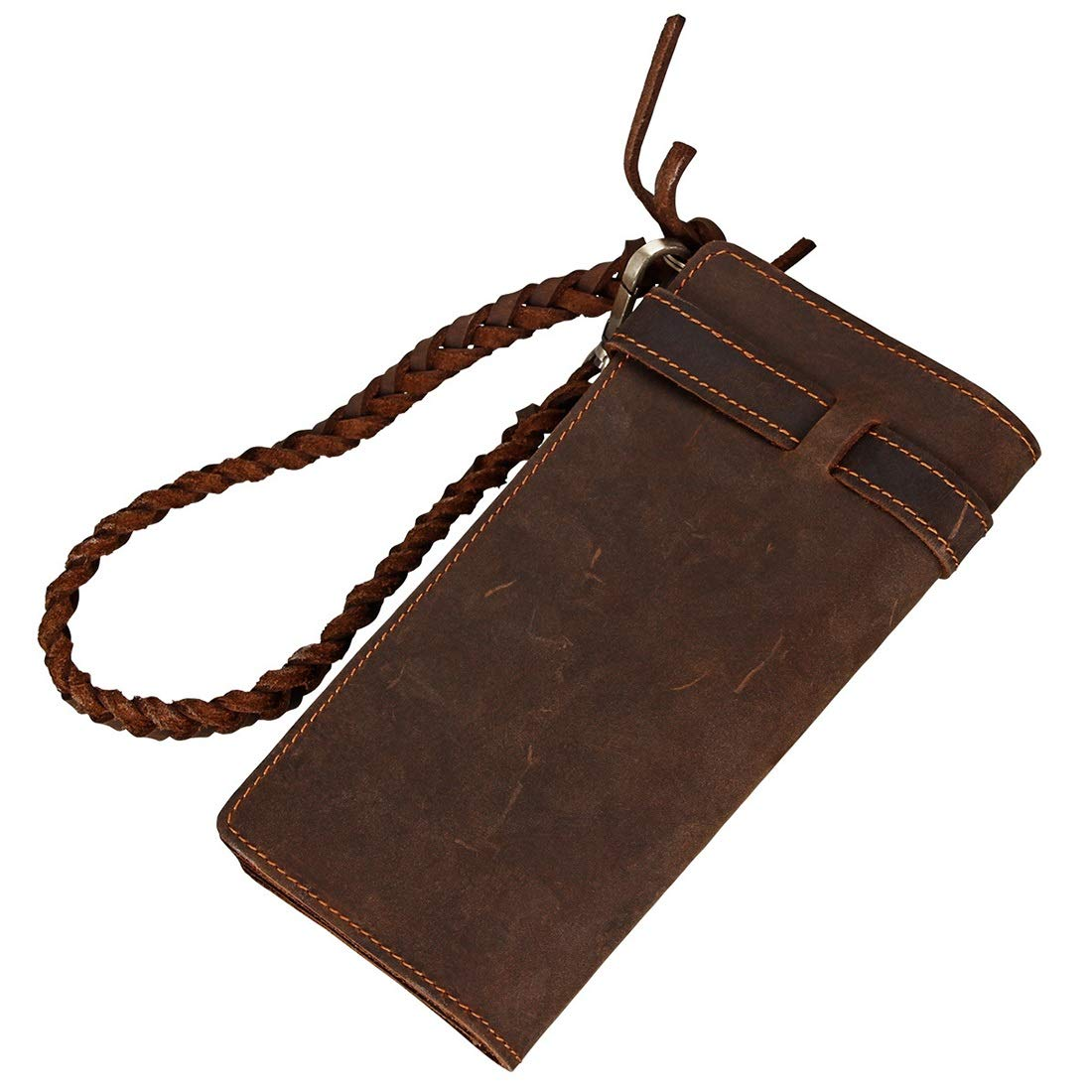 CEFULTY Mens Long Wallet Mens Business Card Holder for Coin Purse Folded Folded Leather Convenient Storage