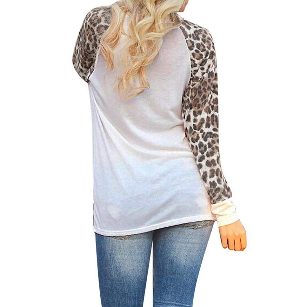 8ab9f136e2 Bestow Camiseta de Mujer de Moda de Gran Tama o Tops Leopardo de Cuello  Redondo Blusa de Mujer de Manga Larga Leopardo  Amazon.es  Ropa y accesorios
