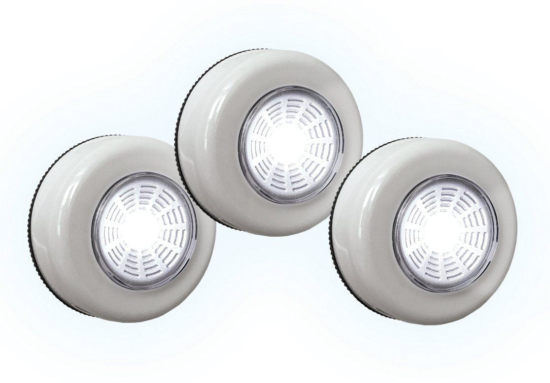 Super Bright Tap Light 3 Pack Wireless Peel and Stick COB LED Lights Tap Light Touch Night Utility Under Cabinet Shed Kitchen Garage Basement 3 AAA Batteries Included White