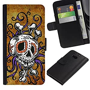 UPPERHAND ( No Para HTC ONE Mini 2) Imagen de Estilo Cuero billetera Ranura Tarjeta Funda Cover Case Voltear TPU Carcasas Protectora Para HTC One M8 - cráneo pulpo oro floral púrpura