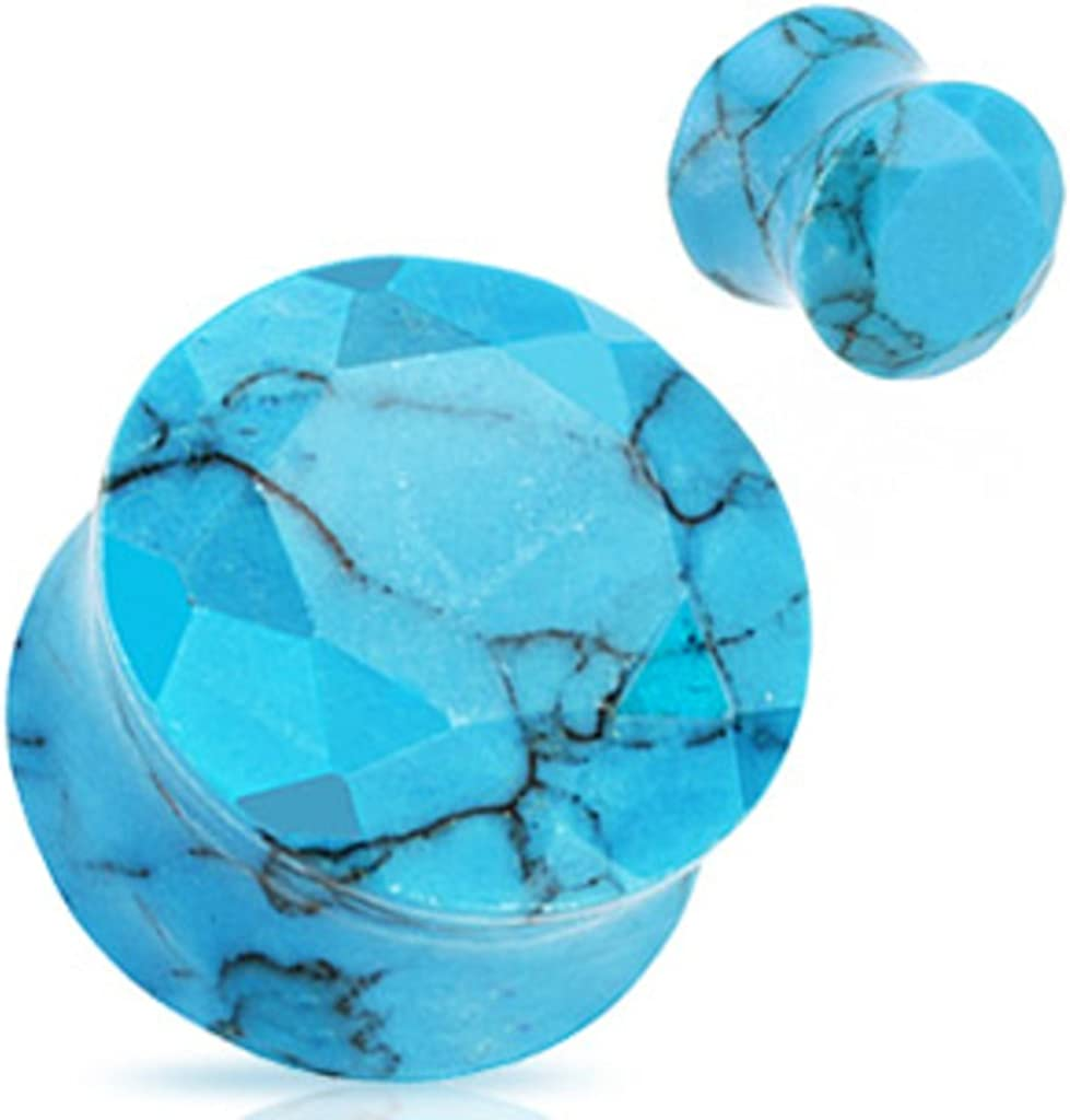 Dynamique Pair of Blue Turquoise Semi Precious Stone Faceted Gem Cut Double Flared Plugs