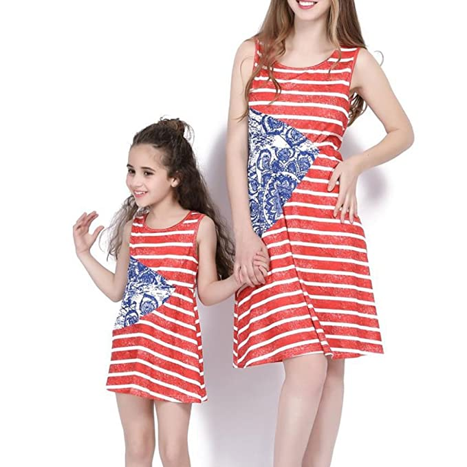 4cdc5c11cdf MLDYGYC Family Matching Dress Mommy and Me Red + White Striped Boho Beach  Dress at Amazon Women s Clothing store