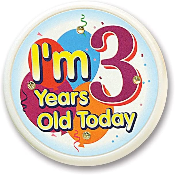 Beistle I'm 3 Years Old Today Flashing Button, 2-1/2-Inch: Kitchen & Dining