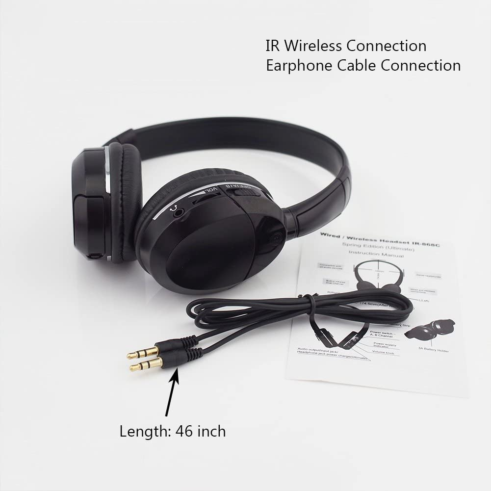 Black DDAUTO Universal 2 Channel Infrared Wireless Car IR Headphone Support IR Transmitter or Wire Connection