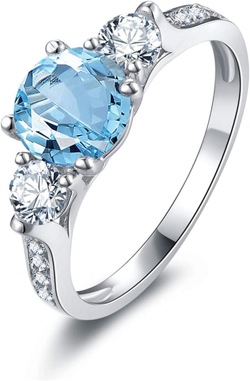 AMDXD Jewellery 925 Sterling Silver Wedding Rings Girls Blue Round Cut Topaz Round Rings