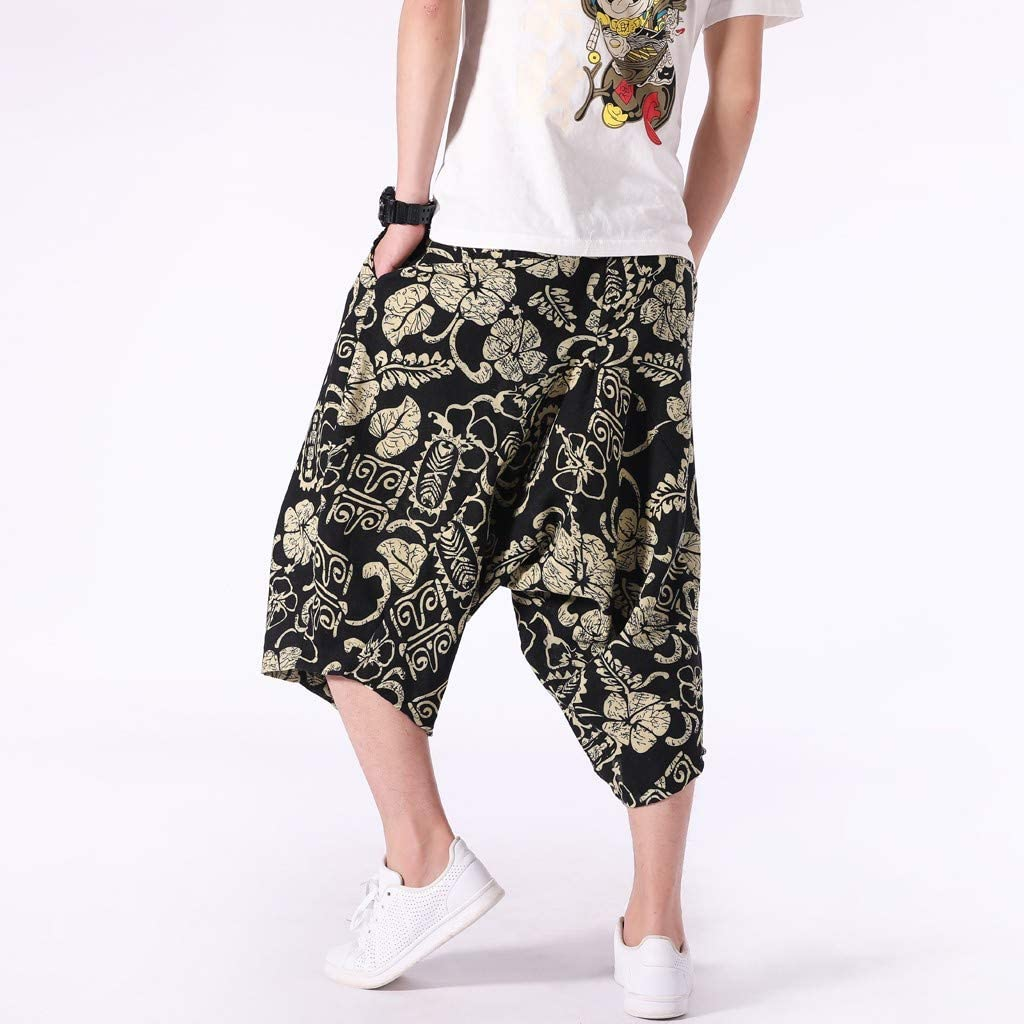 Gtealife Mens Harem Shorts Elastic Waist Drawstring Knee Length Casual Loose Fit Yoga Pants Active Trousers with Pockets