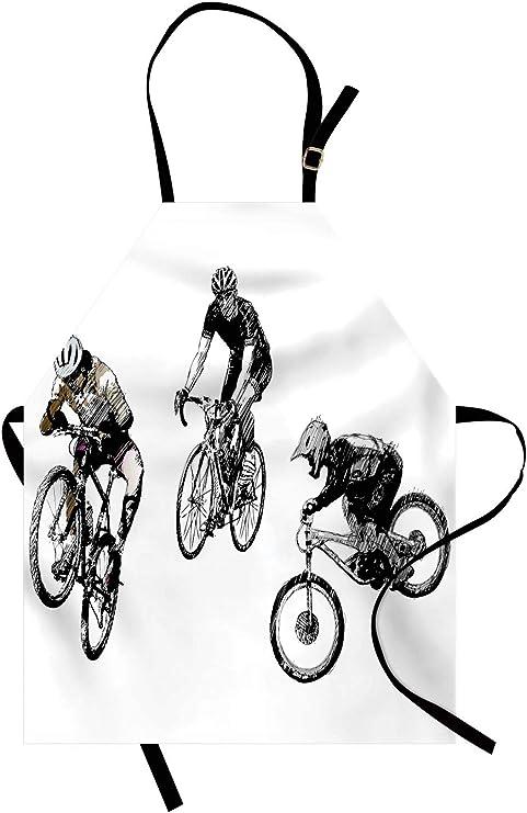 ABAKUHAUS En Blanco Y Negro Delantal de Cocina, Los Ciclistas De ...