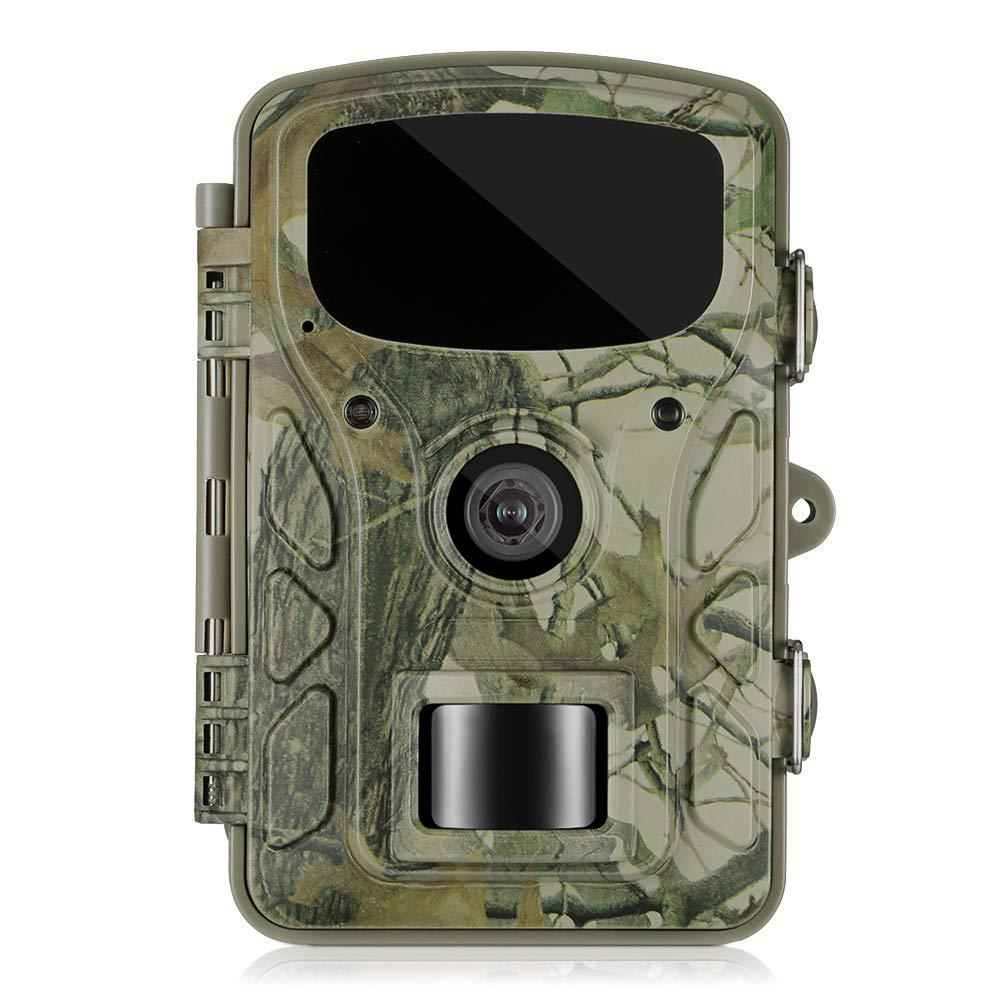 Wildkamera Überwachungskamera Full HD 1080P 16MP Gbtiger Profi Jagdkamera Infrarot-LEDs mit bewegungsmelder Nachtsicht 60°Weitwinkel Wasserdicht IP66 0,5 Sekunden Auslösezeit, USB 2.0 2,4 LCD Display 5 Sekunden Auslösezeit 4 LCD Display