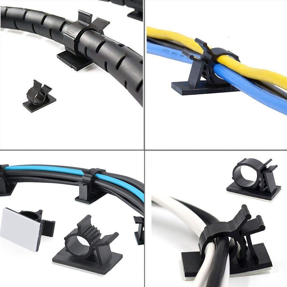 Clips para cables SACONELL 30 unidades, autoadhesivos, ajustables, para el hogar, la oficina, el cub/ículo, el coche, la mesita de noche o el escritorio
