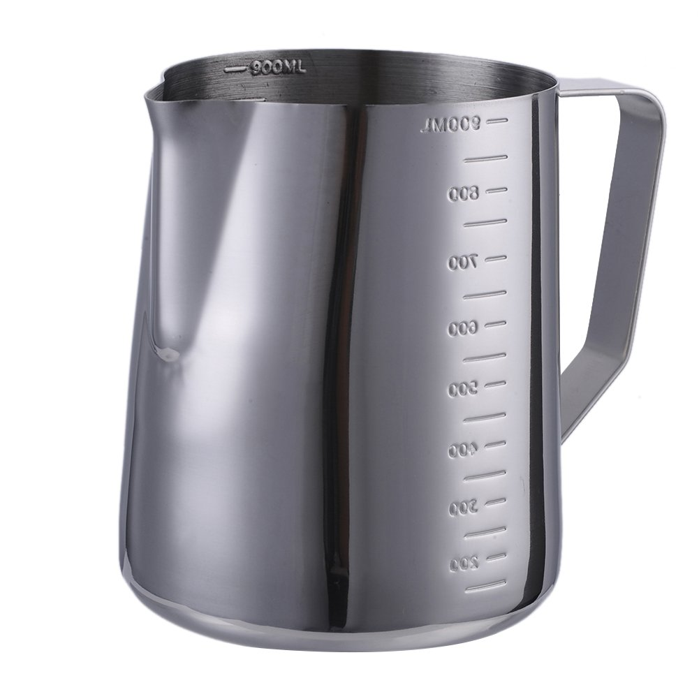 12 oz (350ML) Milk Frothing Pitcher with Measurements on Both Sides, Stainless Steel Coffee Creamer Frothing Cup Jug for Espresso Machines Latte Art Baristas Lembeauty