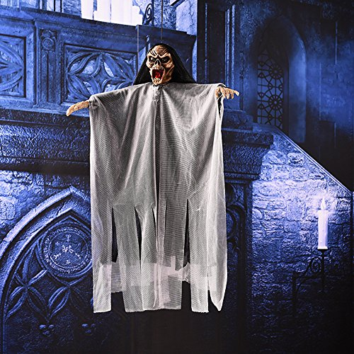 Novelty Halloween Hanging Decorations Electric Scary Skeleton Ghost Witch with Sound and Flashing Eyes for Haunted House, Party, Horror Theme Bar, 20 (Halloween Bar Themes)