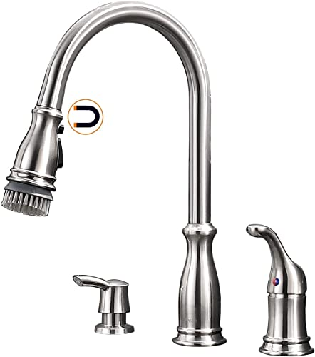 APPASO 3 Hole Pull Down Kitchen Faucet with Magnetic Docking Sprayer, 2 Hole Pull Out Kitchen Sink Faucet with Side Handle and Soap Dispenser, Stainless Steel Brushed Nickel, APS229BN