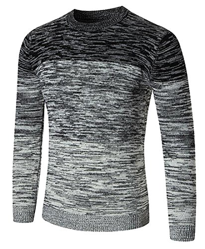 (Alion Men's Oversized Long-Sleeved Tie-Dye Printing Crew-Neck Slim Fit Casual Knit Sweater Black L)